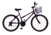Bicicleta Feminina Aro 26 18 Marchas Com Cesta - Violeta - Samy