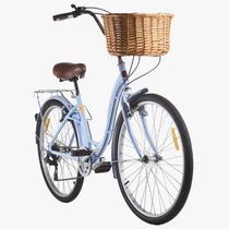 Bicicleta Feminina Mobele Hit 7v Azul com Cestinha -