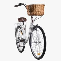 Bicicleta feminina mobele hit 7v branca com cestinha -