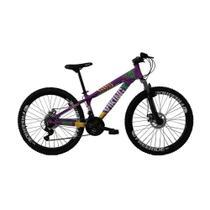 Bicicleta Freeride Aro 26 Freio a Disco 21 Vel. VikingX Lilas Amarelo -