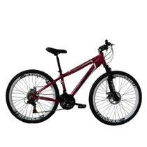 Bicicleta Freeride Aro 26 Freio a Disco 21 Velocidades Câmbios Shimano Rosa Neon - TSW Warship -