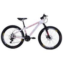 Bicicleta Freeride Aro 26 Jump Freio a Disco 21 Marchas Câmbios Shimano Branca - Dalannio Bike