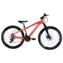 Bicicleta Freeride Aro 26 Jump Freio a Disco 21 Marchas Câmbios Shimano Laranja Neon - Dalannio Bike