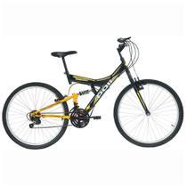 Bicicleta Full Suspension Aro 26  v-Brake 18 Marchas Preta Kanguru - Polimet 7001 -