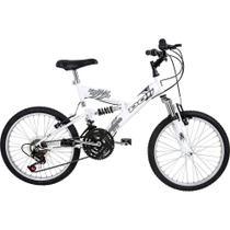 Bicicleta full suspension kanguru aro 20 v-brake 18v branca polimet - cd -