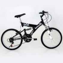 Bicicleta full suspension kanguru aro 20 v-brake 18v preta polimet - cd -