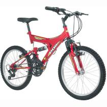 Bicicleta Full Suspension Kanguru Aro 20 Vermelha - Polimet -