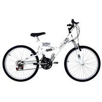 Bicicleta full suspension kanguru aro 24 v-brake 18v branca polimet - cd -