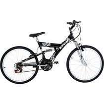 Bicicleta full suspension kanguru aro 24 v-brake 18v preta polimet - cd -