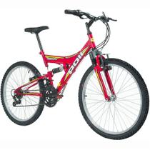Bicicleta Full Suspension Kanguru Aro 24 Vermelha - Polimet -