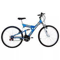 Bicicleta full suspension kanguru aro 26 v-brake 18v azul polimet - cd -