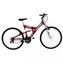 Bicicleta full suspension kanguru aro 26 v-brake 18v vermelha polimet - cd -