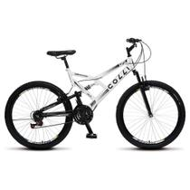 Bicicleta GPS Aro 26 Aço 21 Marchas Dupla Suspensão Freio V-Brake Branco - Colli Bike -