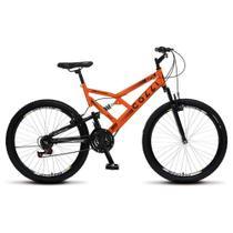 Bicicleta GPS Aro 26 Aço 21 Marchas Dupla Suspensão Freio V-Brake Laranja Neon - Colli Bike -