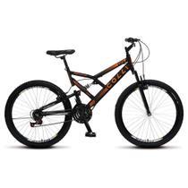 Bicicleta GPS Aro 26 Aço 21 Marchas Dupla Suspensão Freio V-Brake Preto Laranja - Colli Bike -