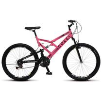 Bicicleta GPS Aro 26 Aço 21 Marchas Dupla Suspensão Freio V-Brake Rosa Neon - Colli Bike -