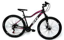 Bicicleta GTI Isis Aro 29 Quadro 15 Alumínio preto/rosa 21V Kit Yamanda . -