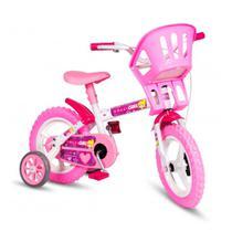 Bicicleta Infantil Aro 12 Aço Colli Girl Cadeirinha Branco Rosa Colli -