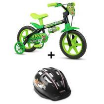 Bicicleta Infantil Aro 12 Black Com Capacete Nathor -