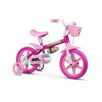 Bicicleta Infantil Aro 12 Com Rodinhas Menina Flower Nathor -