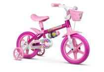 Bicicleta Infantil Aro 12 Com Rodinhas Menina Flower - Nathor -