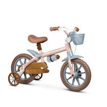 Bicicleta infantil aro 12 meninas antonella baby rosa com garrafinha cestinha e rodinhas - Nathor