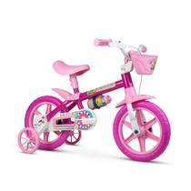 Bicicleta infantil aro 12 meninas flower 11 florzinha rosa com garrafinha e rodinhas - Nathor