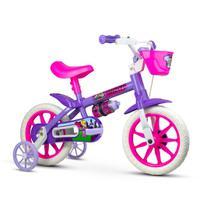 Bicicleta infantil aro 12 meninas violet 3 fashion com garrafinha e rodinhas de treinamento - Nathor