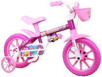 Bicicleta Infantil Aro 12 Nathor Flower - Rosa e Pink com Rodinhas com Cesta