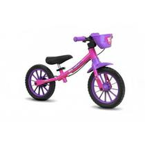 Bicicleta Infantil Aro 12 Sem Pedal Balance Bike Feminina - Nathor Rosa -