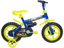 Bicicleta Infantil Aro 12 Verden Jack - Azul e Verde Limão com Rodinha -