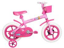 Bicicleta Infantil Aro 12 Verden Paty - Rosa e Fúcsia com Rodinhas com Cesta