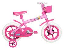 Bicicleta Infantil Aro 12 Verden Paty - Rosa e Fúcsia com Rodinhas e Cesta -