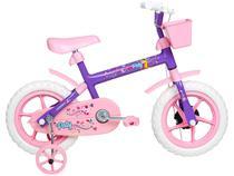 Bicicleta Infantil Aro 12 Verden Paty - Rosa e Lilás com Rodinhas e Cesta