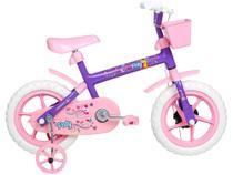 Bicicleta Infantil Aro 12 Verden Paty - Rosa e Lilás com Rodinhas e Cesta -