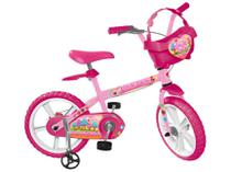 Bicicleta Infantil Aro 14 Bandeirante Sweet Game - Rosa com Rodinhas e Cesta