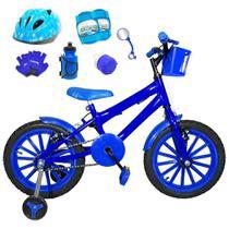 Bicicleta Infantil Aro 16 Azul Kit Azul C/ Capacete e Kit Proteção - Flexbikes