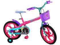 """Bicicleta Infantil Aro 16"""" Caloi Barbie 1 Marcha  - Rosa com Rodinhas com Cesta Freio V-Brake"""