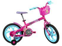 Bicicleta Infantil Aro 16 Caloi Barbie Rosa - com Rodinhas com Cesta