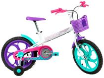 """Bicicleta Infantil Aro 16"""" Caloi Ceci 1 Marcha  - Branco com Rodinhas Freio V-Brake -"""