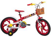 Bicicleta Infantil Aro 16 Caloi Minnie 1 Marcha - com Rodinhas e Cesta