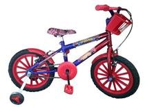 Bicicleta Infantil Aro 16 Com Adesivos Homem Aranha **oferta - Wendy