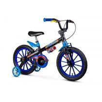 Bicicleta Infantil Aro 16 Com Rodinhas Menino Tech Boys - Nathor Preta/Azul -