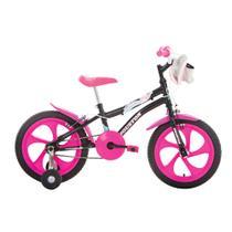 Bicicleta Infantil Aro 16 Houston Tina Com Bolsa E Rodinhas Preta -