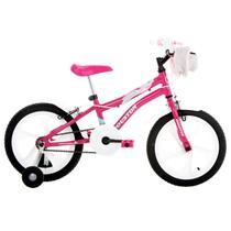 Bicicleta Infantil Aro 16 Houston Tina Com Bolsa E Rodinhas Rosa -