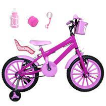 Bicicleta Infantil Aro 16 Pink Kit Rosa Bebê C/ Cadeirinha Para Boneca - Flexbikes