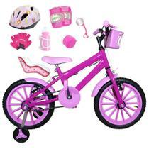 Bicicleta Infantil Aro 16 Pink Kit Rosa Bebê C/ Capacete, Kit Proteção E Cadeirinha - Flexbikes