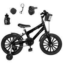 Bicicleta Infantil Aro 16 Preta Kit Preto C/ Acelerador Sonoro - FlexBikes