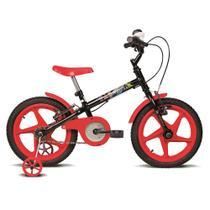 Bicicleta Infantil Aro 16 Rock Preto e Vermelha Verden Bikes -