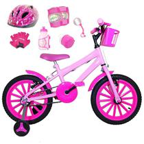 Bicicleta Infantil Aro 16 Rosa Bebê Kit Pink C/ Capacete E Kit Proteção - FlexBikes